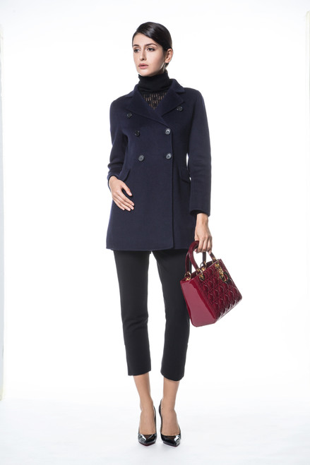 Navy Double Faced Wool Cashmere Blazer