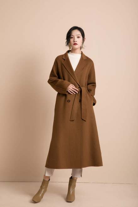 Double Faced Cognac Brown Double Breasted Belted Coat