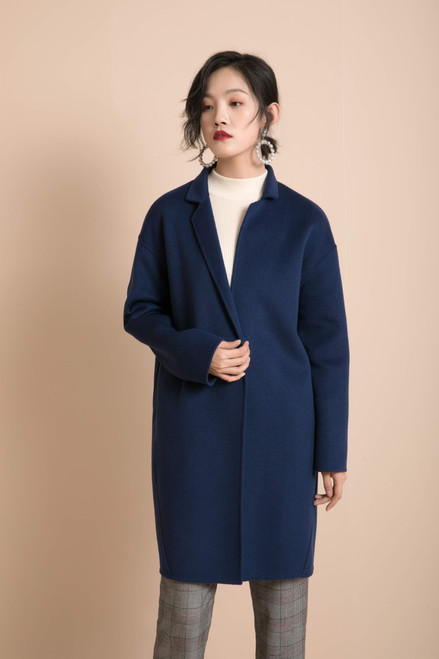 Navy Blue Double Face Wool Cashmere coat