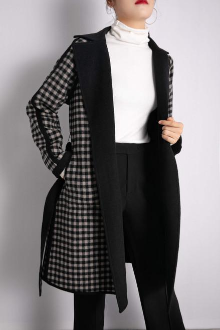 Black Gray Checkered Reversible Wool Coat