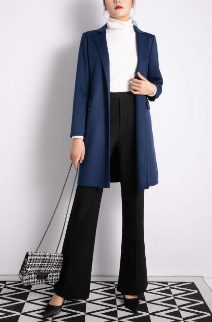 Navy Blue Double Face Wool Cashmere Blazer