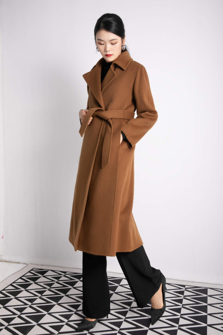 Double Face Wool Cashmere Cognac Brown Belted Long Coat