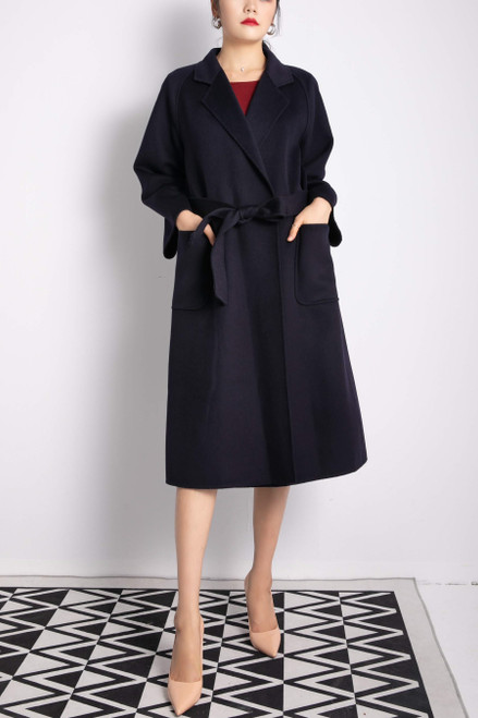 Double Face Navy Long Wool Cashmere Coat With Belt