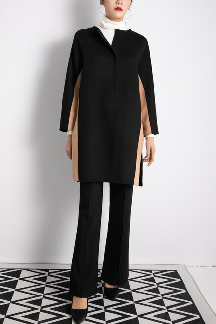 Jewel Neckline Black and Camel Two-Tone Double Face Wool Coat