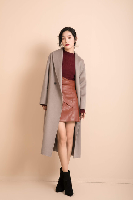 Taupe Double Face Wool Cashmere Coat