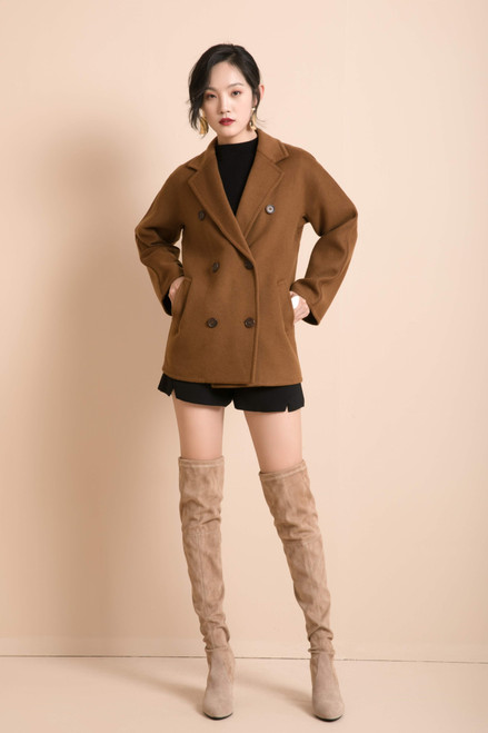 Double Breasted Cognac Brown Double Face Coat