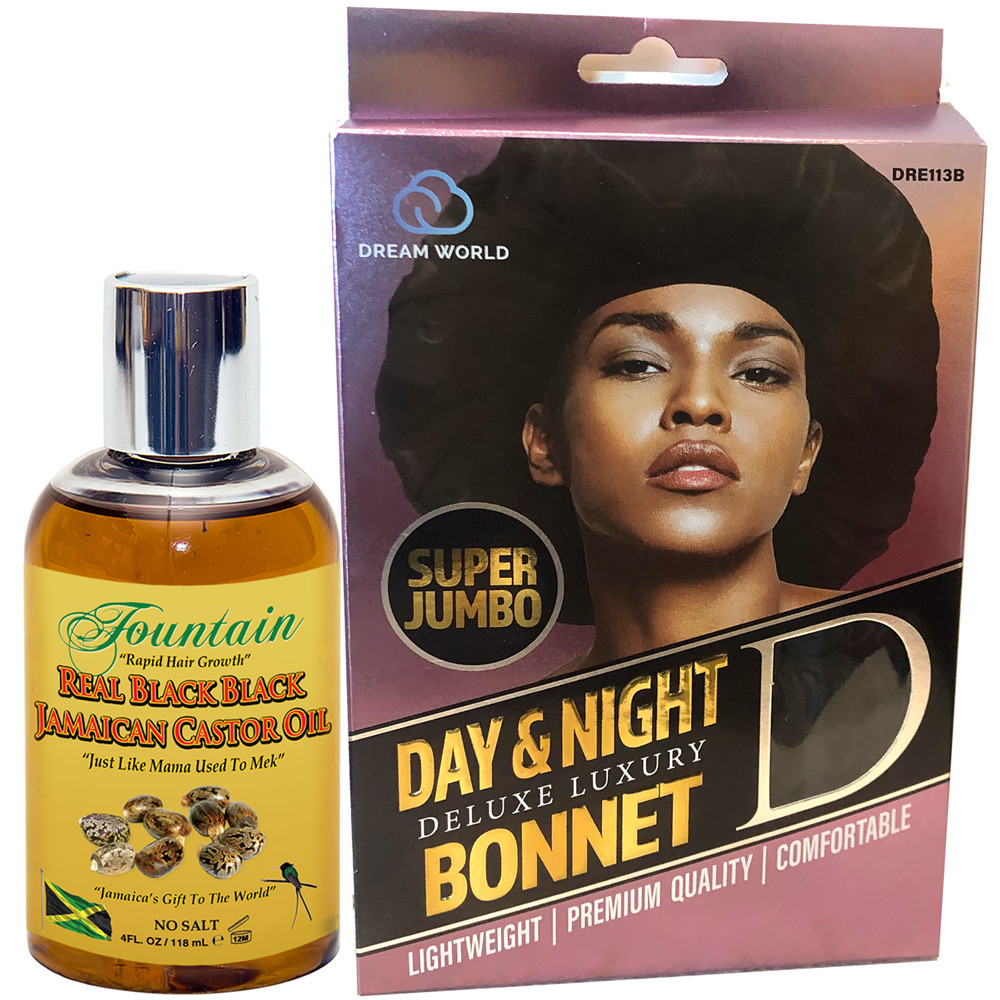 Fountain Real Black Black Jamaican castor oil for multi purpose healing and fast hair growth includes a super jumbo satin bonnet for protective styling and enhanced treatment absorption.