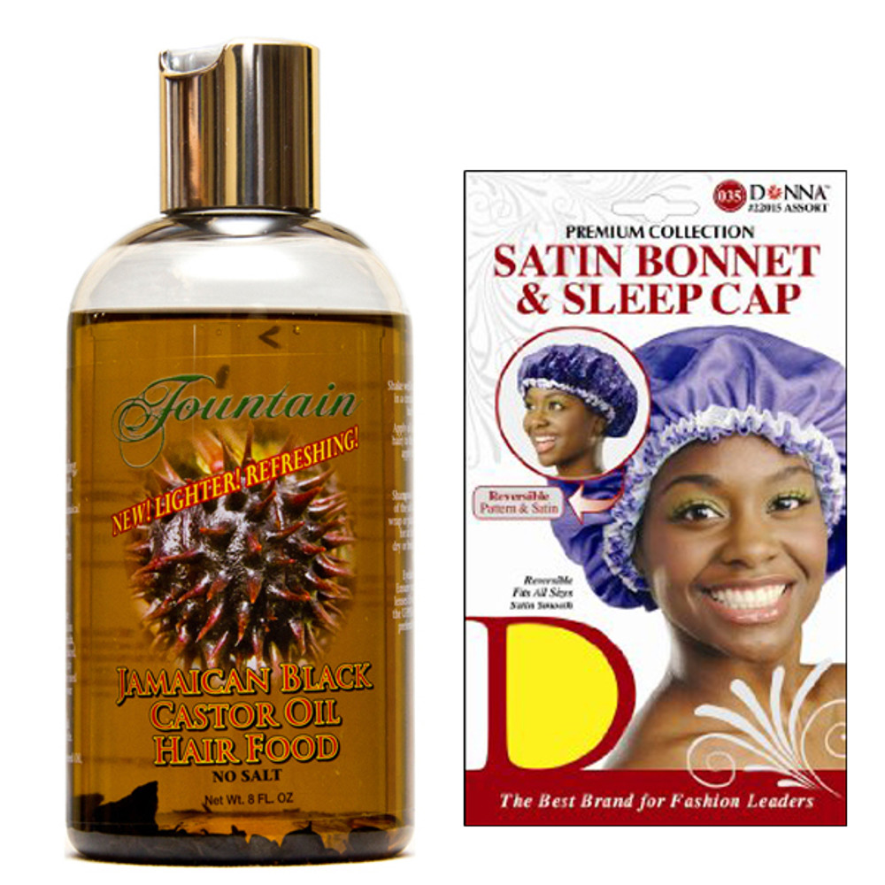 Fountain Jamaican Black Castor Oil Hair Food and Satin Cap Combo