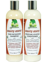 MIGHTY ROOTS Hair Retention Shampoo and Moisture Stuffed Conditioner 13oz Combo