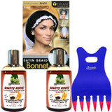 MIGHTY ROOTS with Jamaican Pimento Oil and Black Castor Oil 4 Oz 2-Pack with Bonnet and Claw Comb