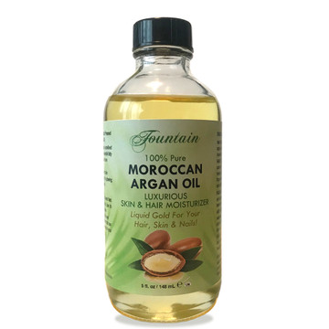 Fountain 100% Pure Organic Moroccan Argan Oil - Liquid Gold for your hair, skin and nails! Mother nature's age defying superfood to smooth fine lines, visibly reduce wrinkles for a stunning, flawless face with a youthful glow, healthy, hydrated hair and strong nails!