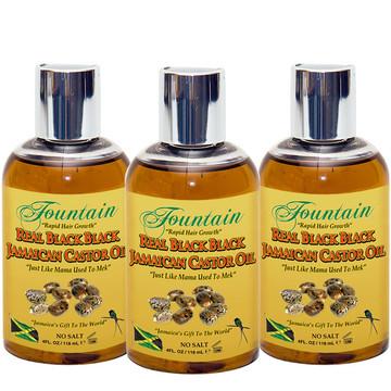 Fountain Real Black Black Jamaican Castor Oil 4 Oz 3-Pack