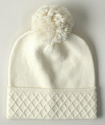 Diamond Cuffed Hat with Pom