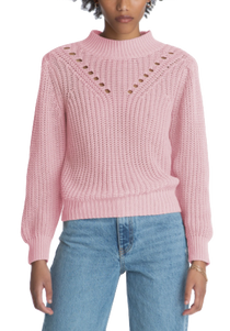 Detailed Mock Neck Sweater with Long Sleeves