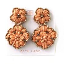 Peach Raffia Flower Earring