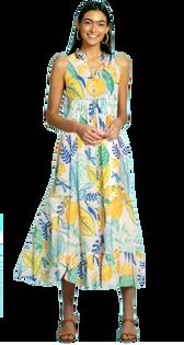 Ro Long Dress in Botanical Lemon