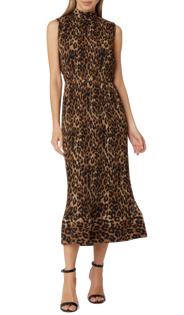 Melina Leopard Print Pleated Dress