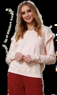 Long-Sleeve Folded Shoulder Sweatshirt
