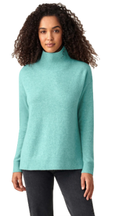 Cashmere Ribbed Stand Neck