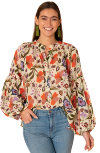 Emory Blouse in Almond Fall Floral