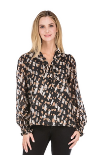Tie Front Blouse Long Sleeve with Smocked Wrist Detail
