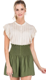 Pleated Blouse in Champagne