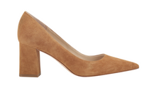 Zala Block Heel Pointy Toe Pump Suede