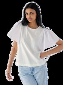 Poplin Handkerchief Sleeve Top
