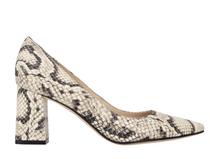 Zala Block Heel Pointy Toe Pump Snake Print