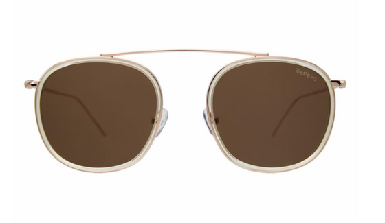 Mykonos Ace Champagne/Rose Gold with Brown Flat