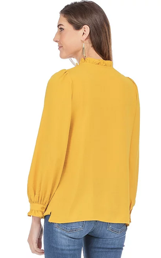 V-Neck Blouse with Ruffle Sleeve