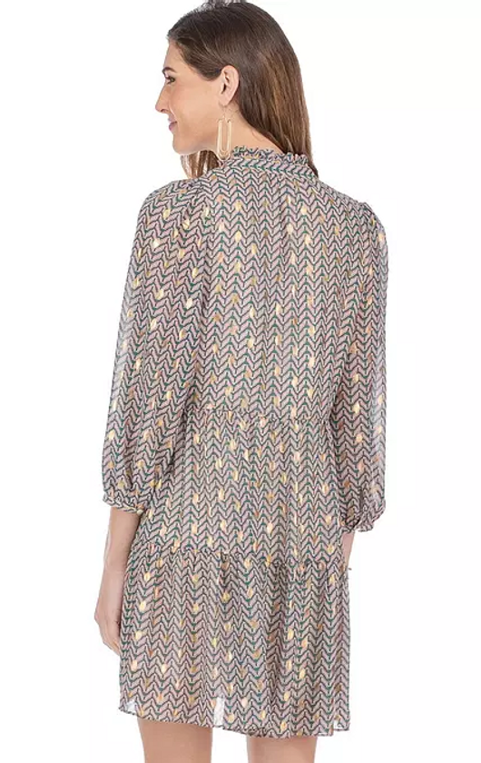 Chevron Print Tiered Dress