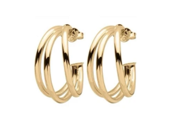 18k Gold Plated Claire Triple Hoops