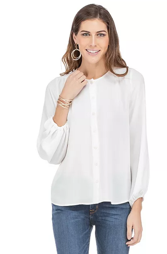 Button Front Swing Blouse