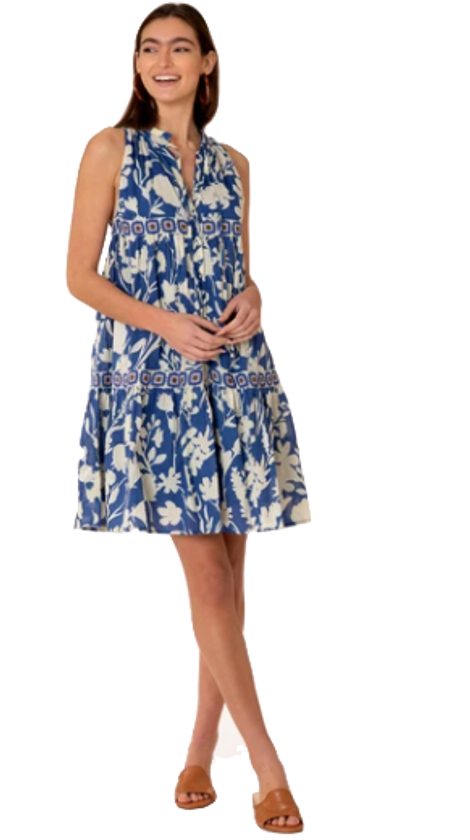 Ro Short Dress in Blue Shadow Floral