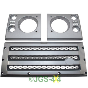 Defender XS Front Grille & Headlamp Surround Silver With Black Mesh - DA1969