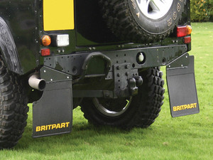 Land Rover Defender 90 Rear Mudflaps (PAIR), Britpart Yellow Logo Branded, with Exhaust Cut-out - DA4531