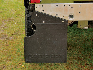 Land Rover Defender 90 Rear Left-Hand Mudflap, Britpart Black Logo Branded, with Exhaust Cut-out - LR055340