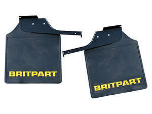 Defender 110/130 Rear Mud Flaps (PAIR) Britpart logo imprinted Yellow - DA4535