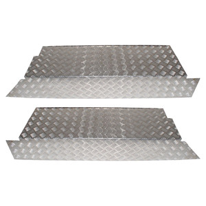 Defender 110 Chequer Plate Rear Floor Side Protector Pair Natural Aluminium - DA2064