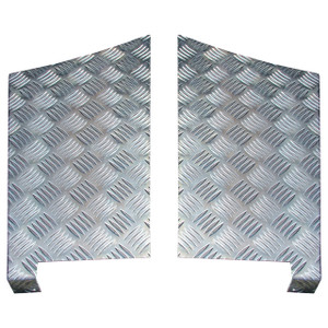 Defender 110 Chequer Plate Rear Wing Protector Pair Natural Aluminium - DA4071