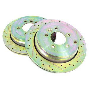 Discovery 3/4 & Range Rover Sport Rear Cross Drilled and Grooved Vented Brake Disc Pair Terrafirma - SDB000636CDG - SDB000636CDG