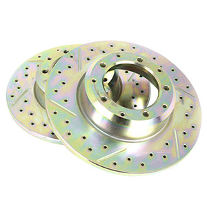 Defender 110/130 Front Cross Drilled and Grooved Vented Brake Disc Pair Terrafirma - LR018026CDG