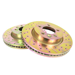 Discovery 3/4 & Range Rover Sport Front Cross Drilled and Grooved Vented Brake Disc Pair Terrafirma - SDB000604CDG