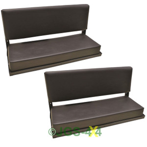 Rear Bench Seat Defender Series County Black Vinyl Folding C/W Fittings x2 Pair