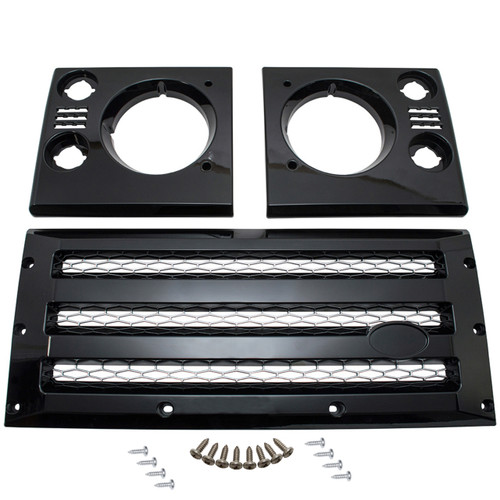 Defender XS Front Grille & Headlamp Surround Black With Silver Mesh - DA1968