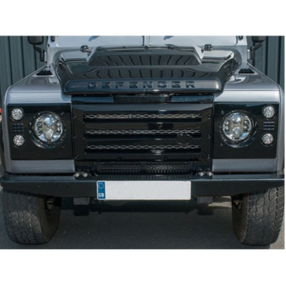 Land Rover Defender XS Grille & Headlamp Surround Gloss Black With Silver Mesh - DA1968