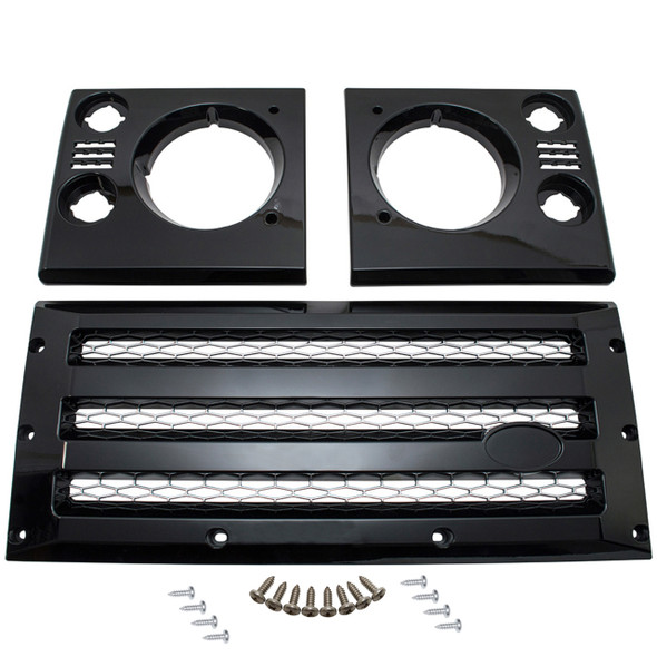 JGS4x4   Land Rover Defender XS Grille & Headlamp Surround Gloss Black With Silver Mesh - DA1968