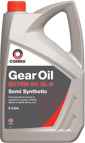 COMMA 75W90 Semi Synthetic Gearbox Axle Differential Gear Oil 5L - SX5L