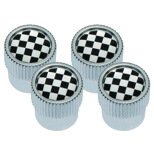Tyre Valve Cap Cover Set Chequered Flag  with Silver Outer Set of 4 - DA1436